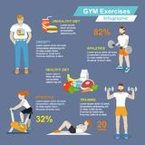 Gym sport exercises infographic. Gym sport exercises fitness and healthy lifestyle infographic set vector illustration Royalty Free Stock Photo