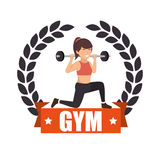 Gym sport fitness girl weight label Stock Images