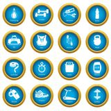 Gym sport icons set, simple style. Gym sport icons set. Simple illustration of 16 gym sport vector icons for web Stock Photos