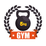 Gym sport kettlebell label graphic Stock Photos