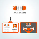 Gym sport nutrition vector logo design template. Stock Photos