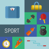 Gym sports equipment icons set. Stock Photography
