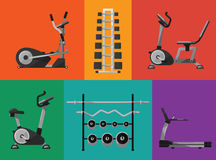 Gym sports equipment icons set. Raster illustration of gym sports equipment icons set. Treadmill, elliptical cross trainer, exercise bikes, stands with Stock Photos