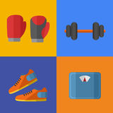 Gym sports equipment icons set. Stock Images