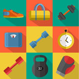 Gym sports equipment icons set. Stock Image