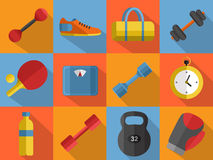 Gym sports equipment icons set. Royalty Free Stock Photography