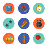 Gym sports equipment icons set. Royalty Free Stock Photos