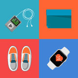 Gym sports equipment icons set. Stock Photo