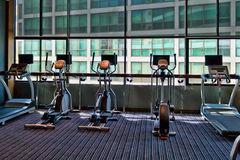 Gym a stationary bike Stock Image