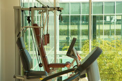 A gym and stationary equipment Royalty Free Stock Image