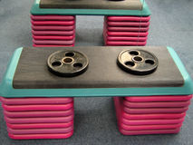 Gym steps. Weights and steppers at the gym stock image