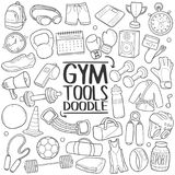 Gym Tools Fitness Traditional doodle icon hand draw set Royalty Free Stock Photo