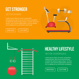 Gym training, bodybuilding, healthy banners. Sport equipment flat banner template. Gym and Fitness Club. Gym training, bodybuilding, healthy and active lifestyle Stock Photography