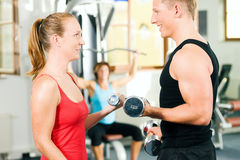 Gym training with dumbbells Stock Photo