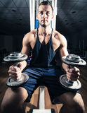 Gym training workout. Young adult man is working out in gym Stock Image