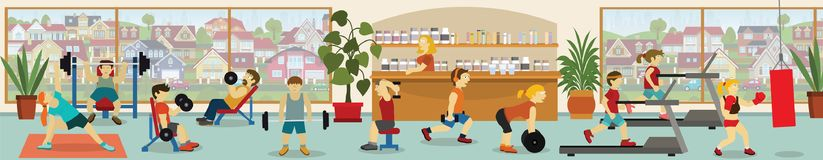 In the gym stock illustration