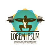 Gym vector logo design template. Weight lifter or. Weight lifter and sport on a white background. vector illustration Stock Image