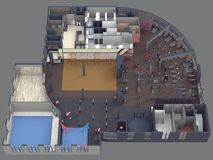 Gym view from above. On a gray backgroundn royalty free illustration
