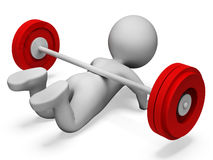 Gym Weak Shows Physical Activity And Complication 3d Rendering. Character Gym Representing Physical Activity And Weakness 3d Rendering Royalty Free Stock Photography