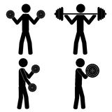 Gym weight. Lift weights at the gym. It is a stick figure vector. EPS10 Royalty Free Stock Photos