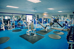 Gym & Weight Machines. Weights and Free-Weights in a Gym royalty free stock image