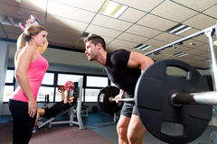 Gym weightlifting couple workout barbell dumbbell Royalty Free Stock Photography