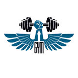 Gym weightlifting and fitness sport club logo, retro style vecto Stock Photo