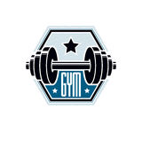 Gym weightlifting and fitness sport club logo, retro stylized ve Royalty Free Stock Images