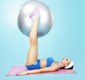 Gym. Wellness. Sporty Woman with Fitness Ball Royalty Free Stock Photo