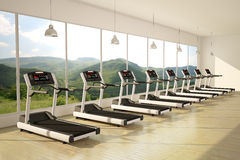 Gym with windows. And running machines with wooden floor stock illustration