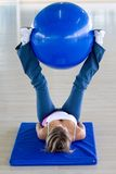 Gym woman doing pilates Royalty Free Stock Photo