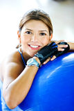 Gym woman doing pilates Royalty Free Stock Images