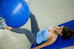 Gym woman doing pilates Stock Photo