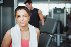 Gym: Woman Feeling Tired After Workout in Gym Stock Photo
