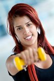 Gym woman with free-weights Stock Image
