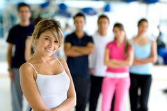 Gym woman with group Stock Photos