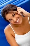 Gym woman on the phone Stock Images