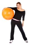 Gym woman with pilates ball Royalty Free Stock Photo