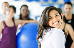 Gym woman smiling Stock Photos
