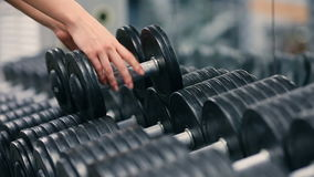 Gym woman strength training lifting dumbbell weights getting ready for exercise workout. Female fitness girl exercising