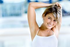 Gym woman stretching Stock Image