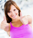 Gym woman with thumbs up Royalty Free Stock Image