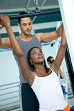 Gym woman and trainer Stock Photos