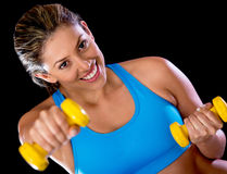 Gym woman with weights Royalty Free Stock Photos