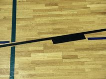 Gym wood floor with playground lines, parquet hardwood in school court. Royalty Free Stock Photos
