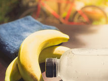 Gym workout accessory close up bottle of cool drinking  water an Royalty Free Stock Image