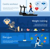 Gym Workout Banner. Gym workout horizontal banner set with cardio and weight training elements isolated vector illustration Royalty Free Stock Images