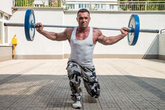 Gym Workout with Barbell Lunge Stock Image