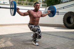 Gym Workout with Barbell Lunge Royalty Free Stock Photo