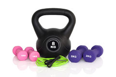 Gym workout equipment isolated on white background Royalty Free Stock Images